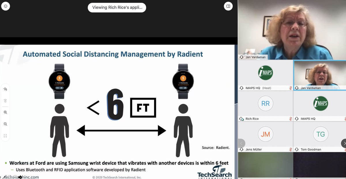 We're online at @IMAPSOfficial technical webinar, kicked off by ASE's Rich Rice and featuring expert speakers Jan Vardaman of @Jan_TechSearch & George Huarte of @Teradyneinc, addressing recovery and growth areas post #covid19. Nice shout out to  @radiantrfid on #Social_Distancing https://t.co/WlkINmK6p9
