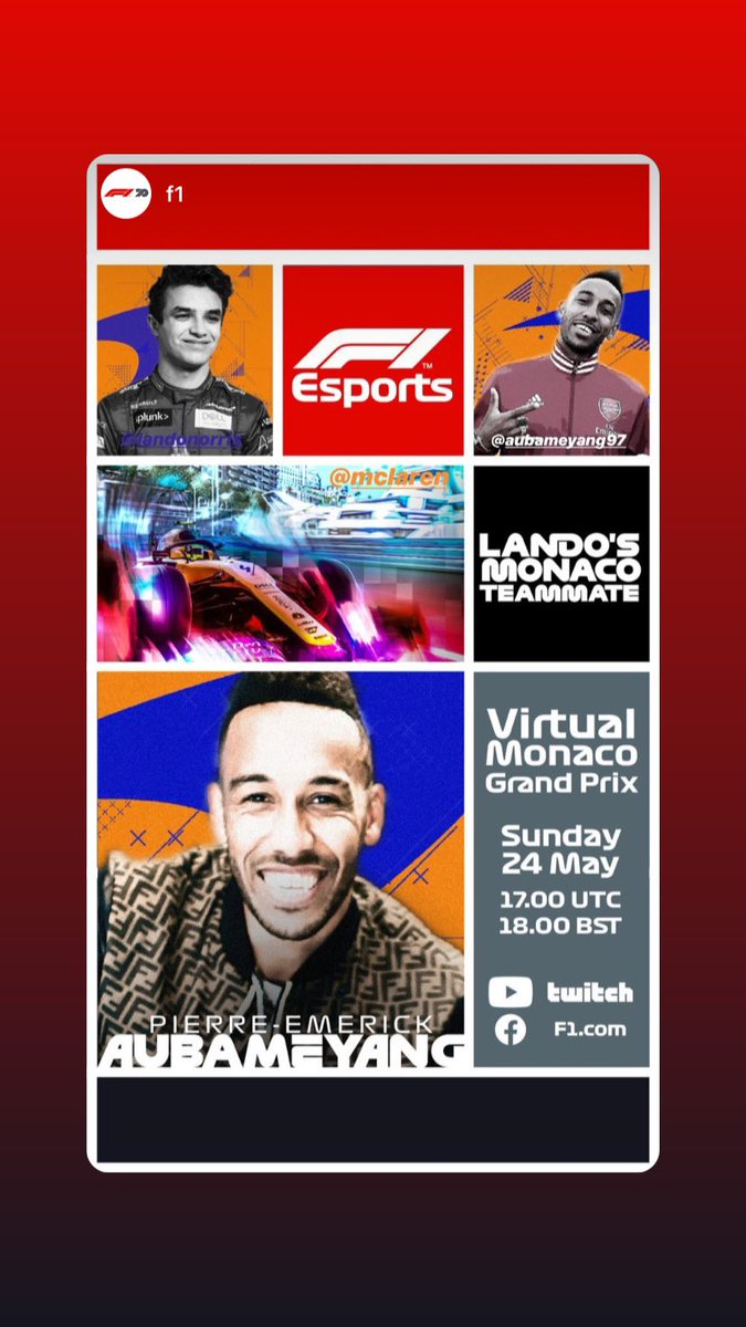 Guys im in!!! I join the Team @McLarenF1 for the @f1 Virtual Grand Prix of Monaco Sunday 24th of may i'll be teammate with @LandoNorris gonna be Crazy and fun 😆🔥🤝🏎 #F1 #F1Esports #VirtualGP #A⚡️ #Auba https://t.co/kfcpbLekk8