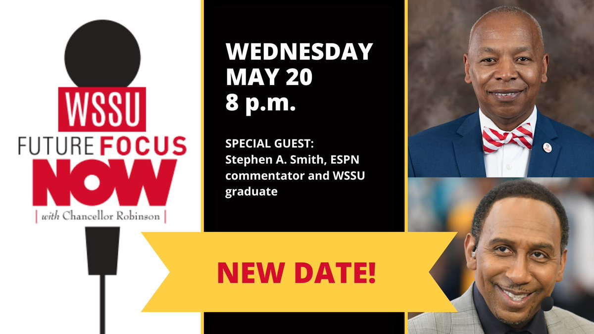 Join us in 5 minutes over on Facebook Live ... bit.ly/2y5Vc7f. Future Focus NOW w/ special guest Stephen A. Smith. Spend time w/ the man himself in intimate convo abt his time at WSSU, his career, the importance of #HBCUs, the Last Dance, & COVID-19 impact on athletics.