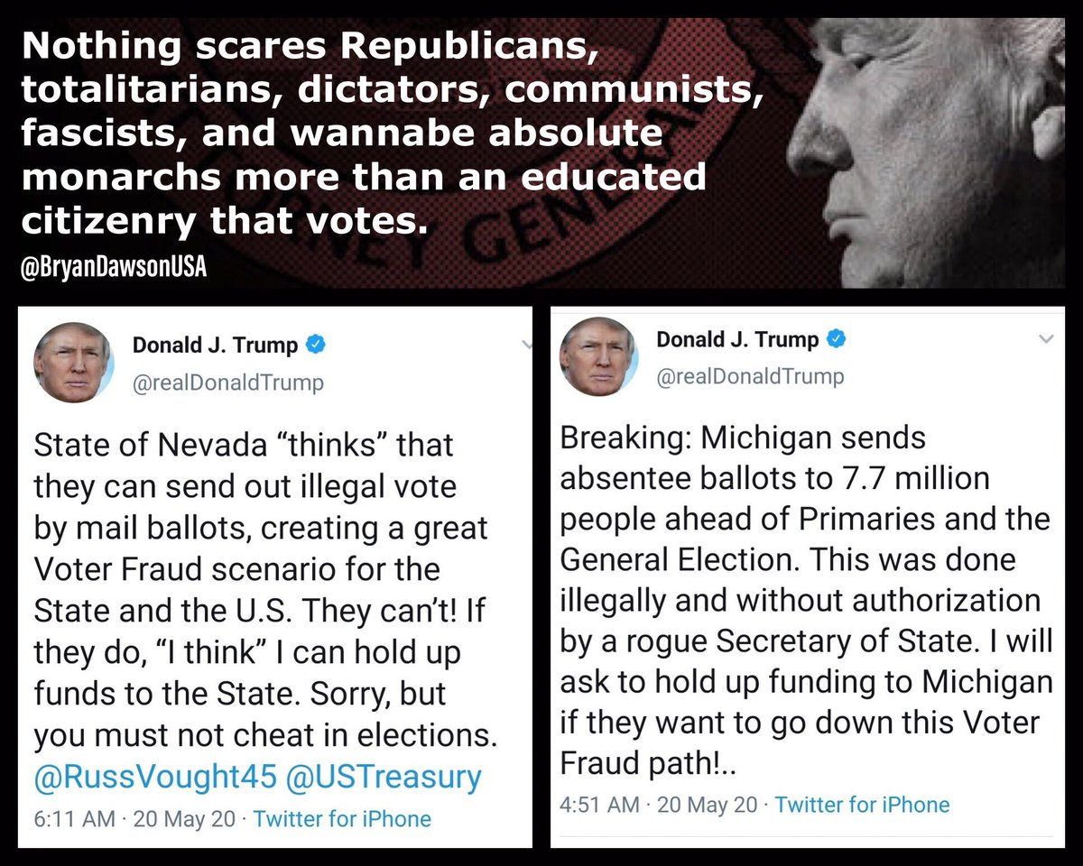 Trump deleted the tweet, but still >>> Nothing scares Republicans, totalitarians, dictators, communists, fascists, and wannabe absolute monarchs more than an educated citizenry that votes. So, vote @JoeBiden #GoJoe2020 #GoJoe #RidinWithBiden twitter.com/bryandawsonusa…