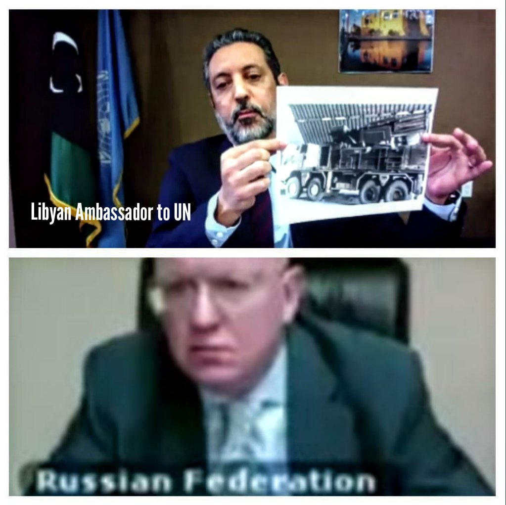 #Russian ambassador to UN first reaction when #Libyan ambassador to UN showed a picture of a Russian Pantsir missile system  that was found inside Wetya airbase south west of #Tripoli after it's fall.pic.twitter.com/eL0wjp9ykJ