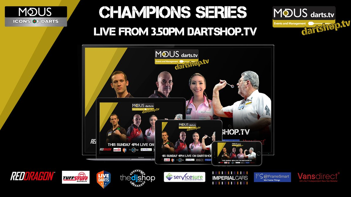 Champions Series 📢📢  This Sunday The Modus Champions Series is back!!  3 hours of exhibition darts 🎯🎯  Staring ⭐ @PhilTaylor ⚡️️ @Fsherrock 👸🏼  @wolfiedarts  🐺 Arron Monk 🦾  Buildup starting from 3.50pm free on https://t.co/G0vmFFFjm0 & https://t.co/9BIO8eoiA4 https://t.co/THnPKTHpFq