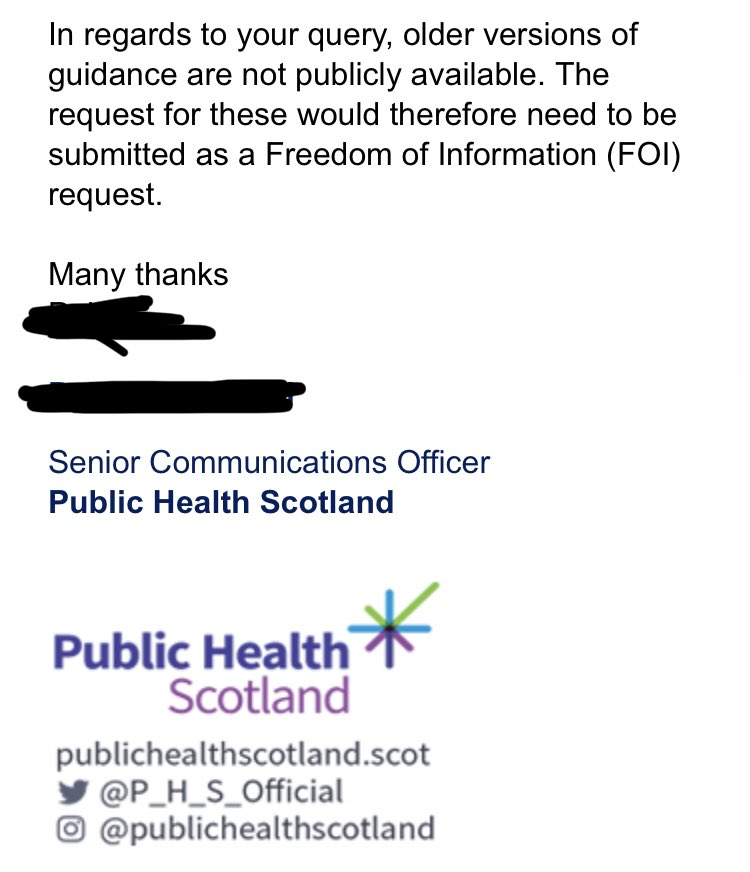 At this point I'd like to tell you what Health Protection Scotland (now PHS) guidance said at the time about the issues raised here. I can't because they've removed it from their website and will not disclose it.