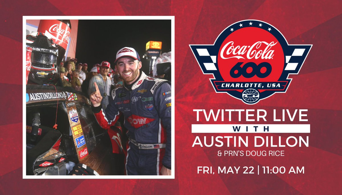 Mark your calendars for a live interview with @CocaCola Racing family driver @austindillon3 and @PRNlive ahead of the #CocaCola600. Have questions for Austin? Reply below and he might answer your question live on Twitter! 👇 https://t.co/k0VAHDUBwG