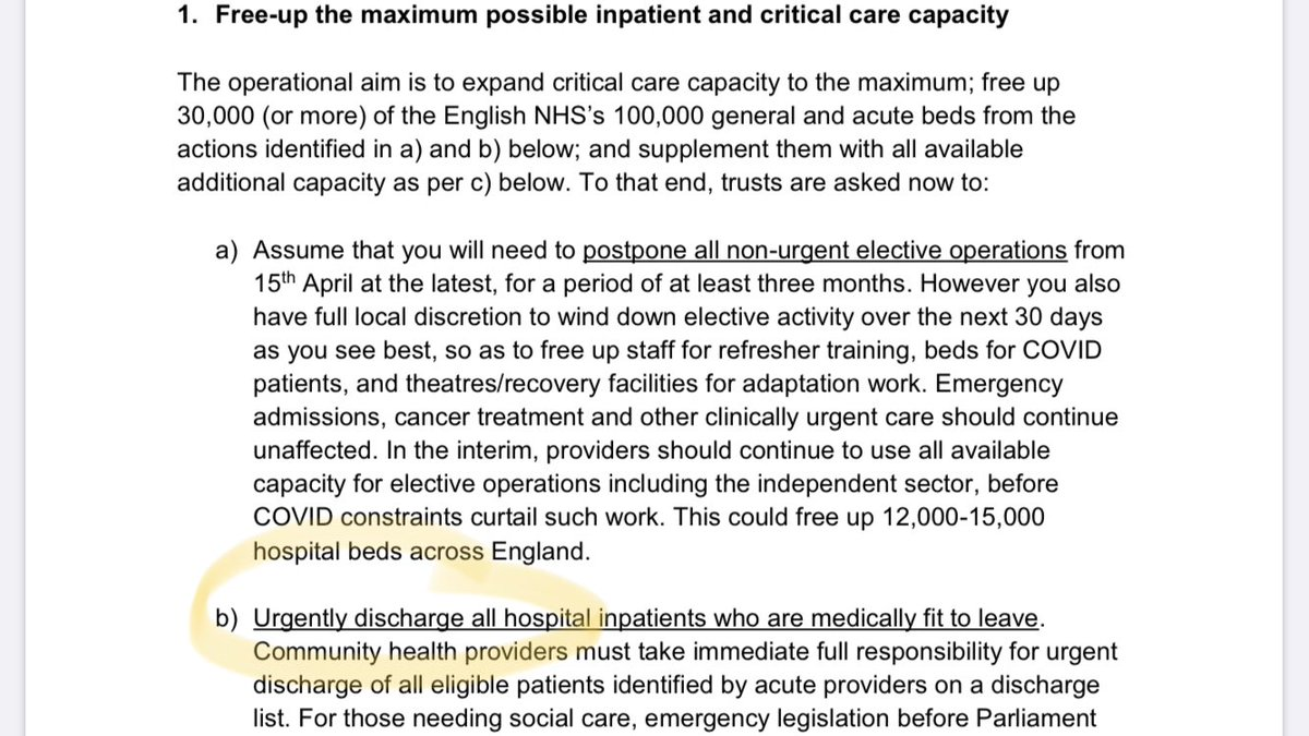On March 17 NHS chief Simon Stevens said 30,000 NHS beds could be freed up by actions including 'urgently discharging' patients.