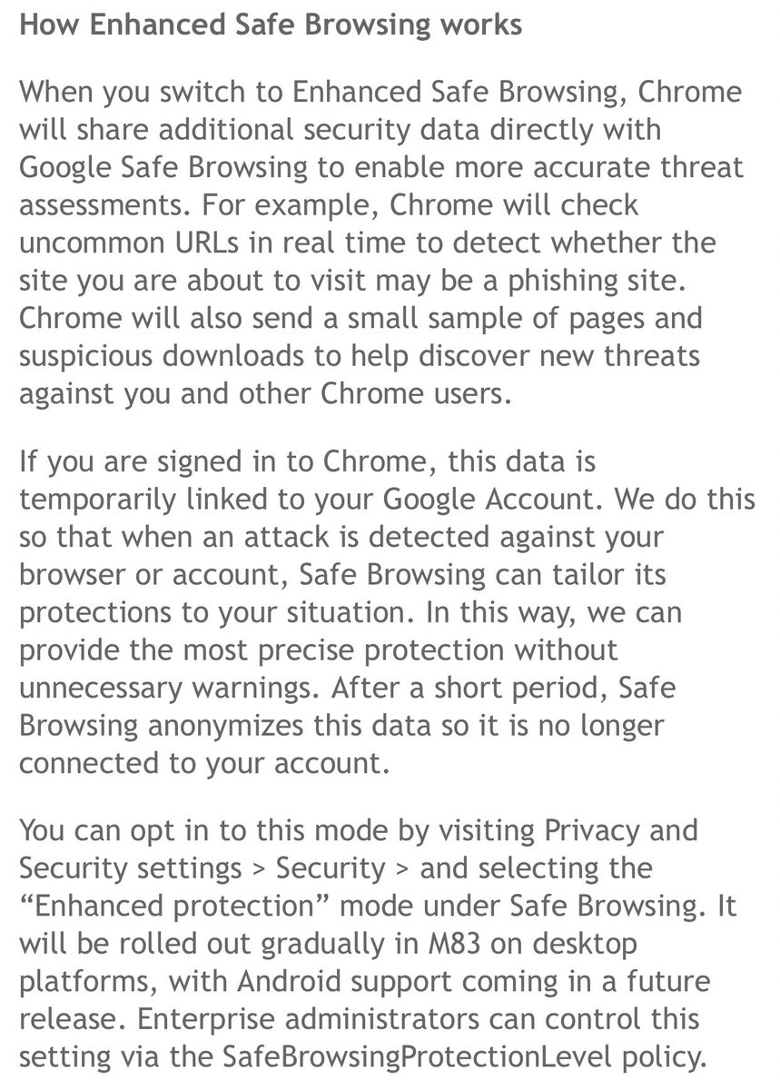 Wait, what is this crap, Google? You're going to send URLs from Chrome straight to Google, and associate them with a user's Google account? https://t.co/eGAxtFgLeZ https://t.co/JHqDOWcDof