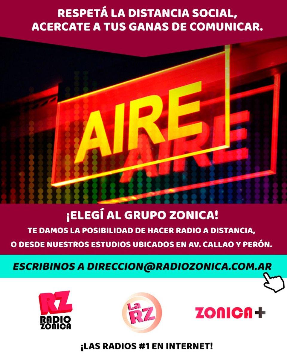 Respetá la distancia social, acercate a tus ganas de comunicar. ¡Elegí al Grupo Zonica! Te damos la posibilidad de hacer radio a distancia, o desde nuestros estudios ubicados en Av. Callao y Perón.  direccion@radiozonica.com.ar  #GrupoZonica #RadioZonica #LaRZ #Zonica+pic.twitter.com/NlPZg93AEL