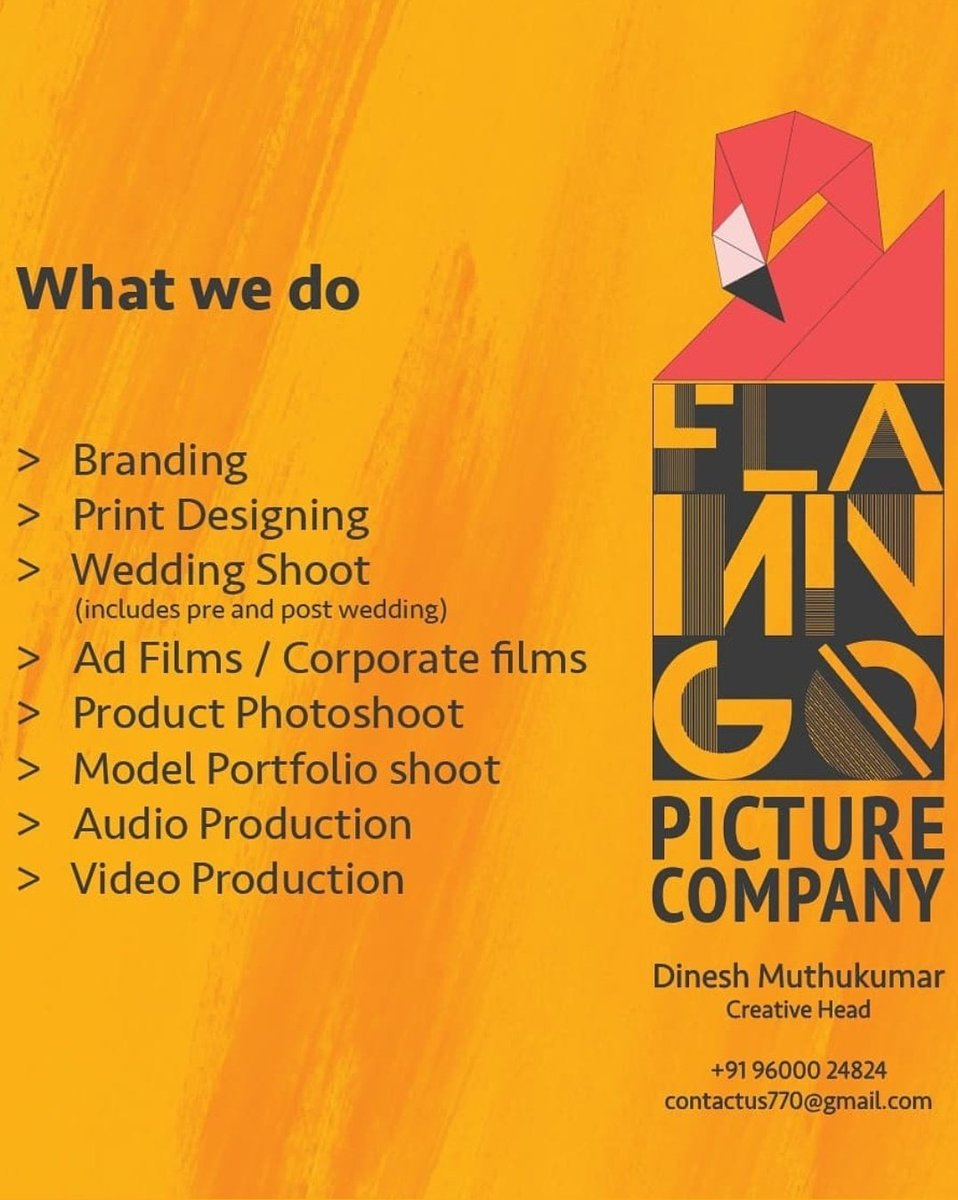We do..  #weddingshoot #printdesign #AdFilm #branding #brandingdesign #brandingphotography #corporatefilm #productphotoshoot #modelportfolio #shortfilm #musicrecording #musicstudio   Contact us @FlamingoPictur2pic.twitter.com/v6cudGt6sk