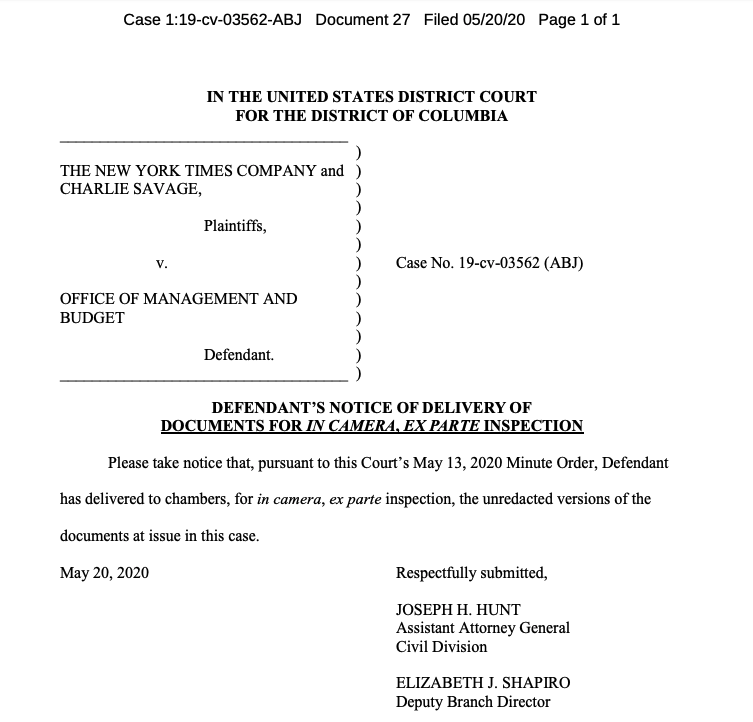 Per court order, DOJ provides DC judge unredacted Ukraine-related communication that is subject to a NYT public-records suit. US District Judge Amy Berman Jackson will review the documents in her chambers. https://t.co/6qORVjFv25