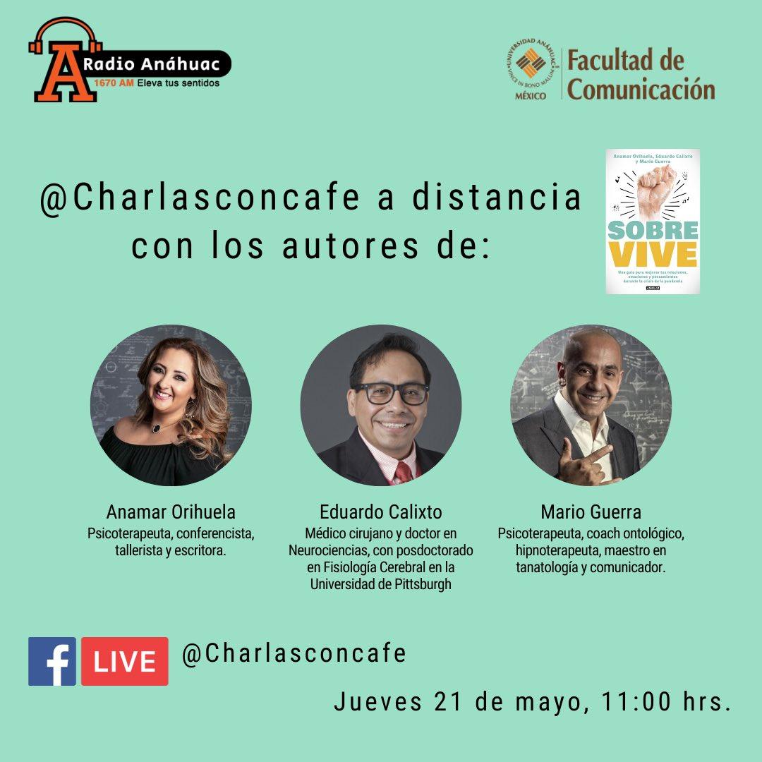 Este jueves en nuestras @charlasconcafe a distancia @giselledeen conversará con los autores del libro #Sobrevive @AnamarOrihuela @marioguerra & @ecalixto    #quédateencasa #Sobreviviendo #penguinrandomhouse #booklovers #yomequedoencasa #MegustaleerMX #Charlasconcafé https://t.co/xT0OjRc9Tn