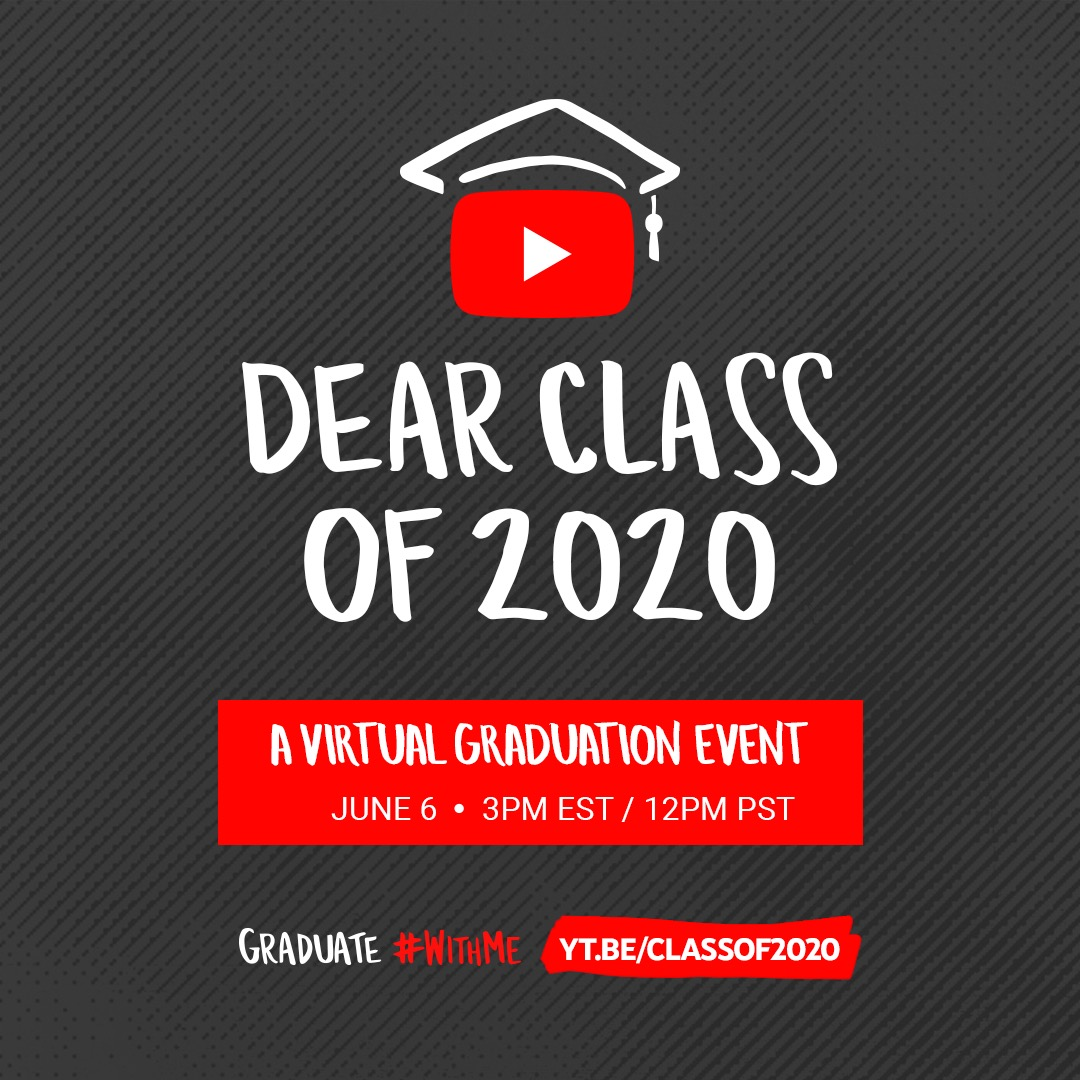 #DearClassof2020, your resilience is resounding. I can't wait to celebrate your momentous accomplishment in this graduate #withme livestream event on June 6th on @YouTube! Set a reminder and let us know your name and where you're graduating from here: https://t.co/xrz4SmEnoC https://t.co/VICPk6Rn4o