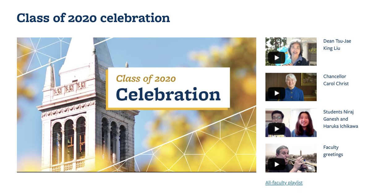 Our Class of 2020 Celebration website is still up and running!🎓 You can see all the brilliant engineers who graduated this year and view all the celebratory remarks made by the College of Engineering faculty and staff. 🎉 engineering.berkeley.edu/events/2020-ce… #calgrad #becelebration2020