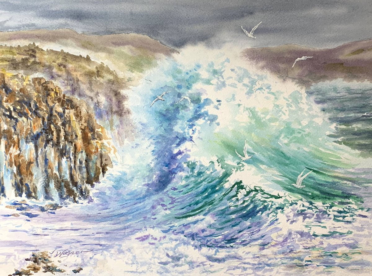 "My wave is finished. Hope you enjoy it. 12"" x 16""  #California #ocean #art #watercolor #watercolour #watercolorpainting #etsy #impressionism https://etsy.me/2df3gpV pic.twitter.com/ZK813AuZt6"