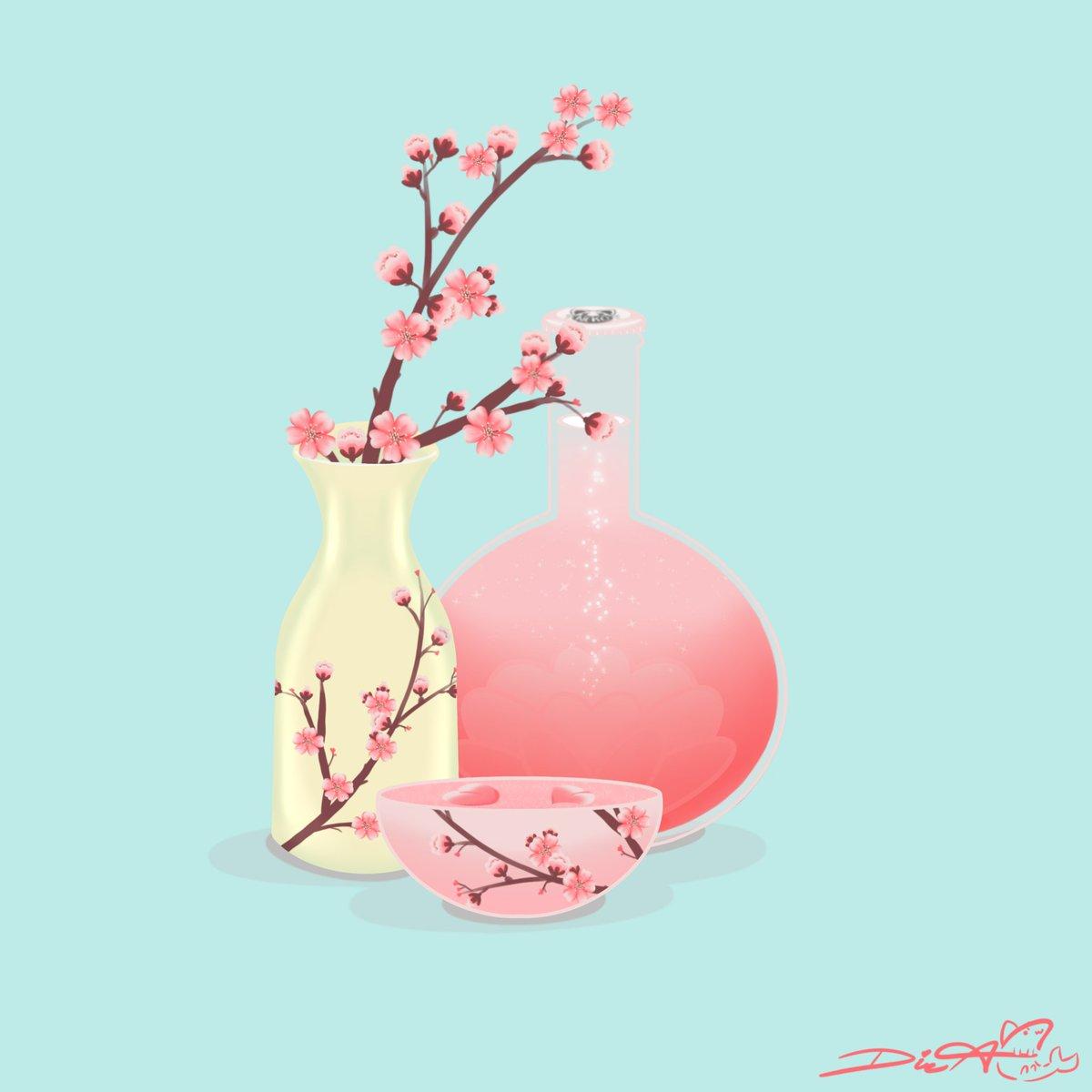 Cherry Blossom Sake ~  #Cherryblossom #sake #vectorartpic.twitter.com/5lcjLtVcUj