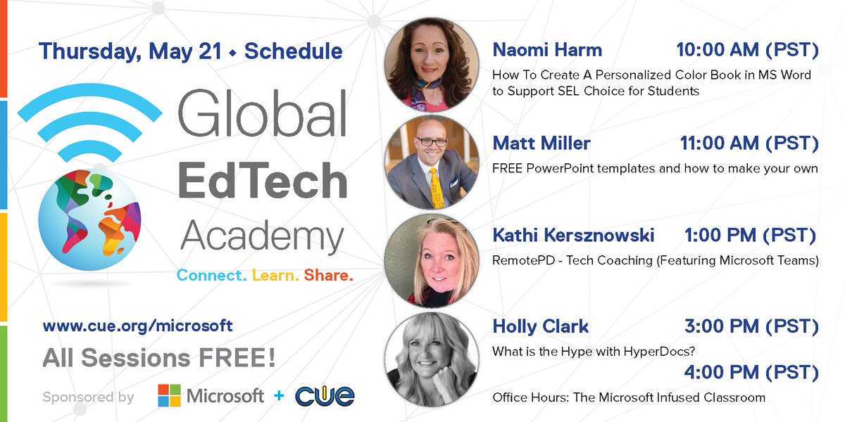Another BIG day of FREE PD tomorrow with Global EdTech Academy sessions featuring @naomiharm @jmattmiller @kerszi and @HollyClarkEdu. Register today! ->cue.org/microsoft<- Teachers from around the globe are joining in! #GETA #WeAreCUE #MicrosoftEDU #edchat #edtech