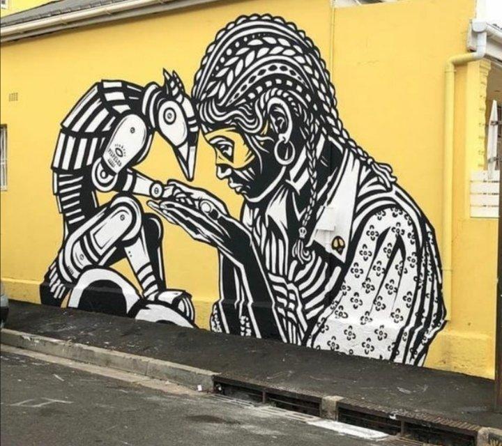 Black and white can be so colorful.....  #streetArt #Mural #Graffitipic.twitter.com/tYqdOyU50v