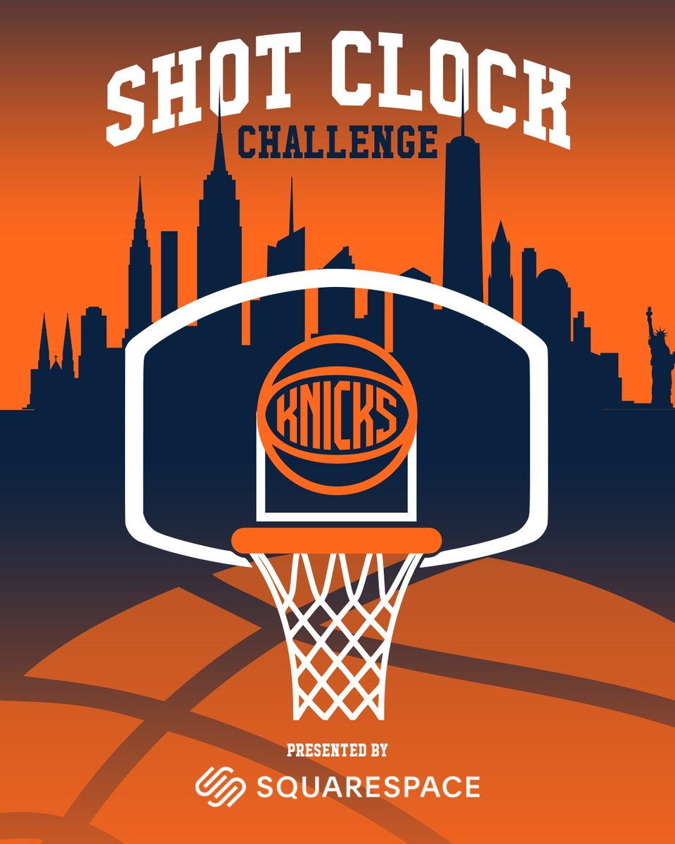 Play the Shot Clock Challenge, presented by @squarespace! Now through June 15th, visit the @nyknicks app to compete against rival fans and play for league-wide bragging rights https://t.co/ZI2GcGahPS