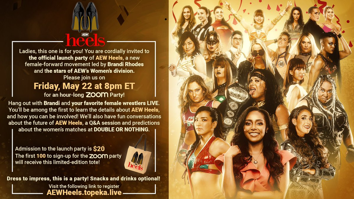 Want to know what's next for #AEWHeels?  Join us this Friday night for a Zoom Party w/ @TheBrandiRhodes and your favorite female stars of AEW for the first introduction to AEW Heels! See the invite below for more details and how to sign up.  We'll see you at the party!<br>http://pic.twitter.com/eXH3ijB7p1