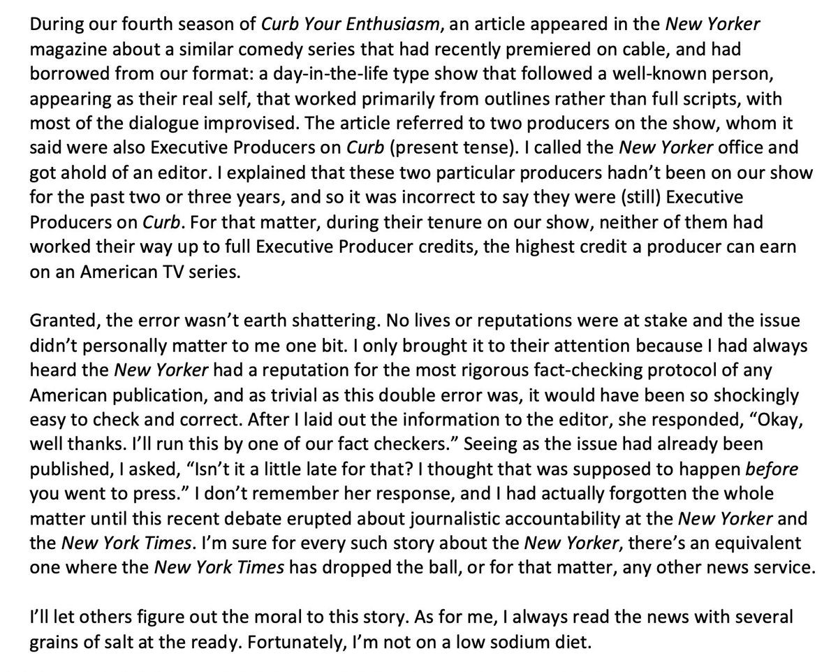 Here is my meaningless contribution to the current debate about journalistic accountability at the @NewYorker and the @NYTimes. It involves reporting a trivial error to the #NewYorker about an article that mentioned #CurbYorEnthusiasm.pic.twitter.com/0P7SRs5ZDp