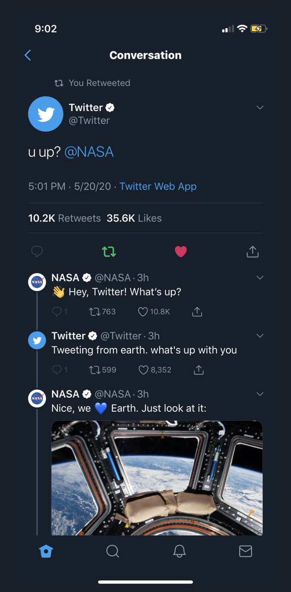 why are nasa and twitter flirting on my tl