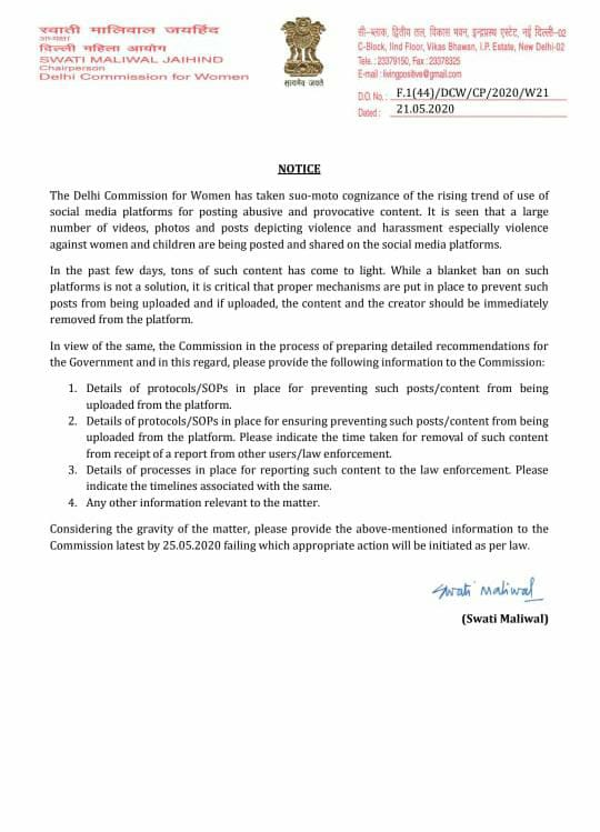 DCW chief @SwatiJaiHind issues notice to major social media platforms (Facebook, Instagram, Twitter and TikTok) seeking details of the standard operating procedure used by them for dealing with content promoting #Violence and #harassment. #CyberBullying #CyberAbusepic.twitter.com/Lcr0lDNhbZ