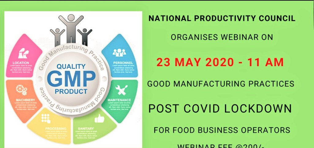 #webinar 23rd May 11AM On Good Manufacturing Practices for Food Sector & improve productivity  Register at:- https://www.npcindia.gov.in/NPC/User/webinar_registration?course_select_id=NTQ=… @NPC_INDIA_GOV #webinar #training #date #time #agriculture #food  @NPC_INDIA_GOV @mygovindia #food  #manufacturing #production #MSMEs #productivitypic.twitter.com/LEZ3WISJq7