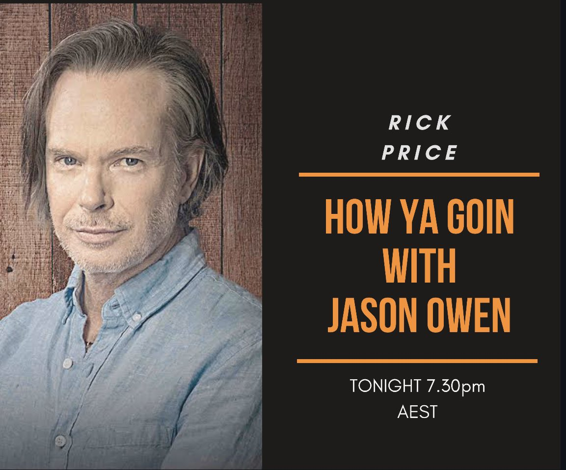 Tonight the legend @RickPriceHQ joins me for a yarn at 7.30pm 🎸🎶 https://t.co/OZSxgYRRBr