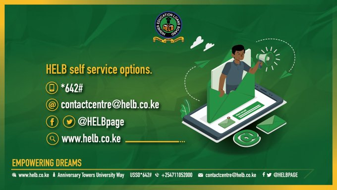 HELB contacts and self service options.