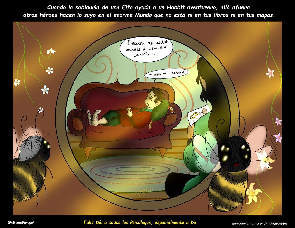 """#DiaDelPsicologo en México y #DiaDeLasAbejas  """"Cuando la sabiduría de una Elfa ayuda a un Hobbit aventurero,allá afuera otros héroes hacen lo suyo en el enorme mundo que no está en tus libros ni en tus mapas""""  Regalo para mi amiga """"Da"""". Parodia #Hobbit #LotR #Digitalpic.twitter.com/qUo6FHEV5Z"""