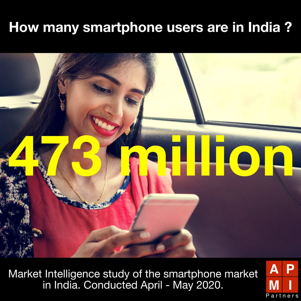 Did you know… 473 million… that's how many #smartphone users #India currently has out of its population of 1.3 billion | #marketintelligence #APMIPartnerspic.twitter.com/LZusSMYpqw