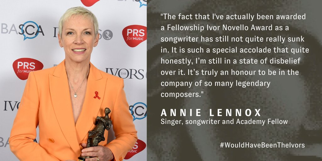 Today #WouldHaveBeenTheIvors and @AnnieLennox reflects on receiving a Fellowship Ivor Novello Award at the ceremony in 2015. Were looking forward to announcing the 2020 winners on 2 September.