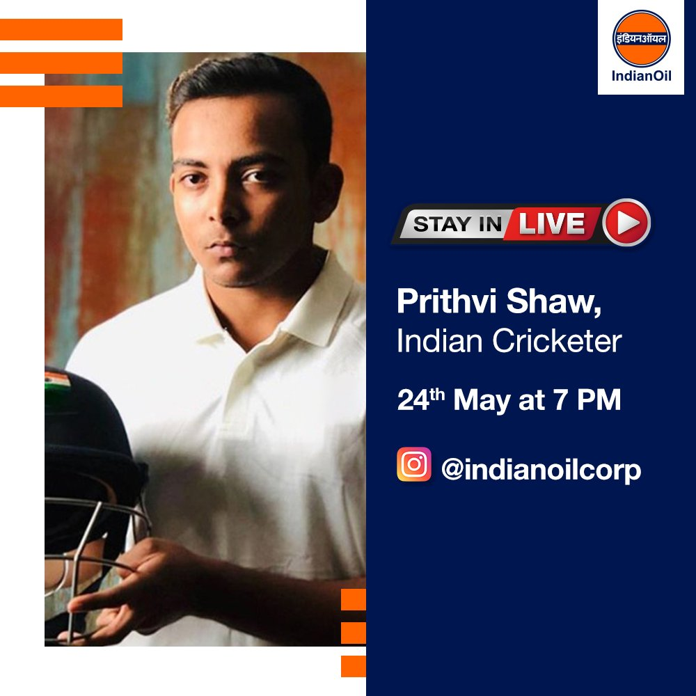 .@PrithviShaw, Indian cricketer, will be gracing our Instagram Live on Sunday at 7 PM on . Tag a cricket fan below to let them know, and keep your questions ready for an interesting conversation! #StayInLive #StayHomeStaySafe