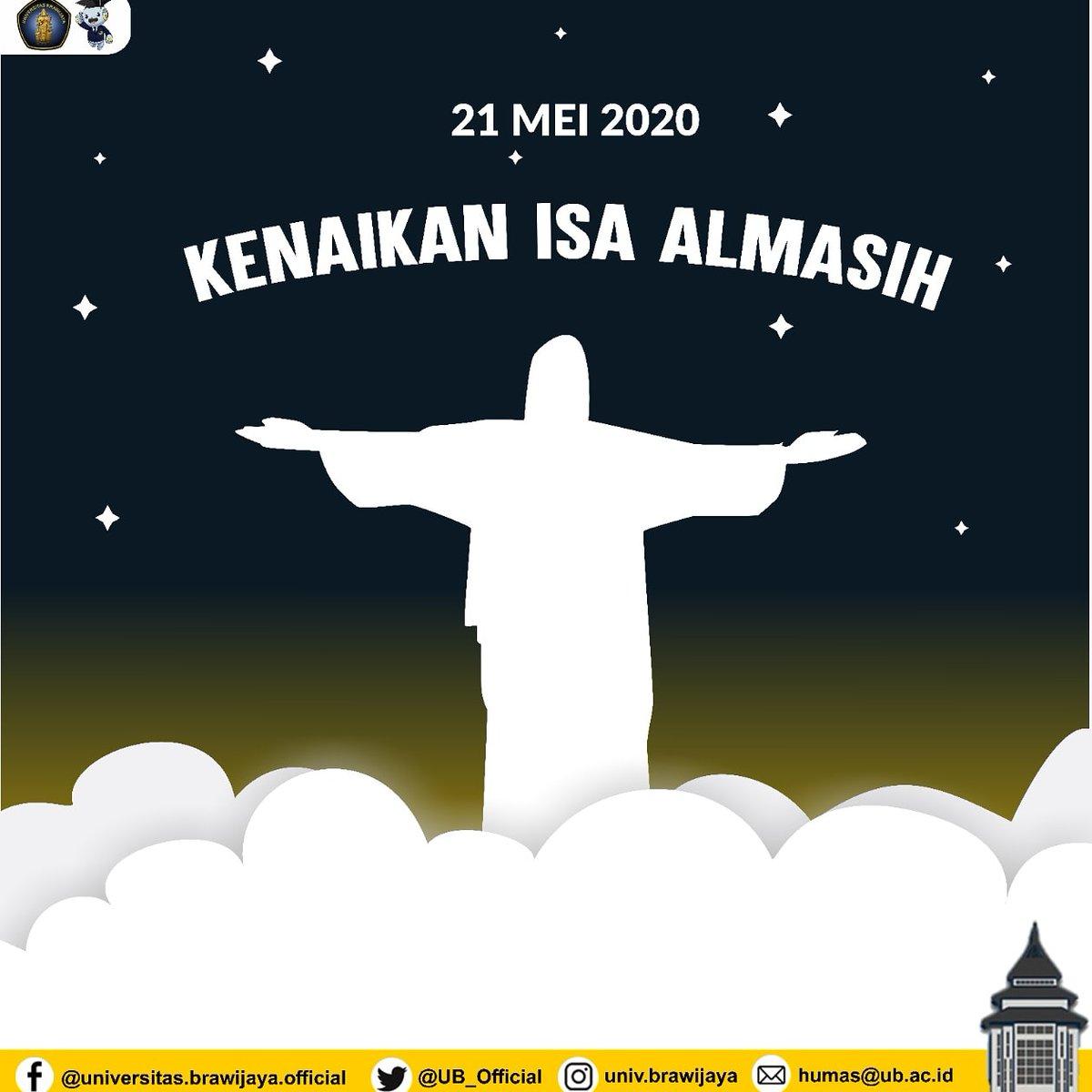 Selamat memperingati Kenaikan Isa Almasih, dear #TemanUB yang merayakan.  Semoga kasih-Nya selalu mendampingi kita semua.  #UniversitasBrawijaya #KampusUB #KenaikanIsaAlmasih