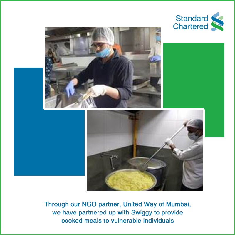 At #StandardChartered, we believe in being #HereWithYou. With the help of our NGO partner United Way of Mumbai, we partnered with Swiggy to provide cooked meals to vulnerable communities. We are happy that we could help around 24,600 people. To know more https://bit.ly/3e4Td2ppic.twitter.com/wDnNnwfsFF