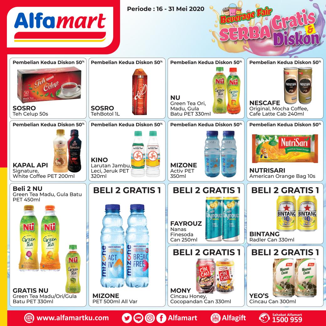 Dapatkan promo Beverage Fair berikut yang produknya SERBA GRATIS & DISKON nya pasti menarik banget lho Sahabat. . Yuk, dapatkan produknya di #Alfamart terdekat . Periode 16 - 31 Mei 2020 #AlfamartMelayaniIndonesia #AlfamartTerdekatAja #RamadhanDirumahAja #AlfamartPenuhRahmatpic.twitter.com/iuVTkHd1mL