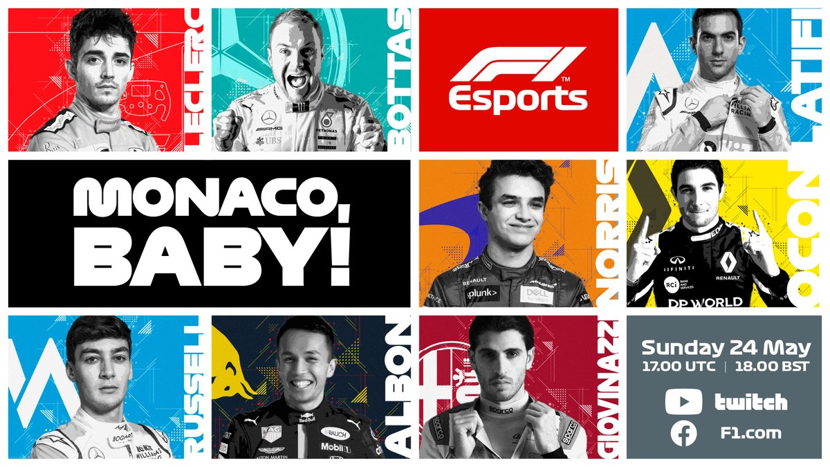 Valtteri Bottas and Esteban Ocon join the grid!   Eight F1 drivers will race in Sunday's Monaco #VirtualGP 😁  Watch it live on F1's YouTube, Twitch and Facebook, and on https://t.co/AmP4UhZXMU!   #F1 #RaceAtHome https://t.co/Va77g31b6G