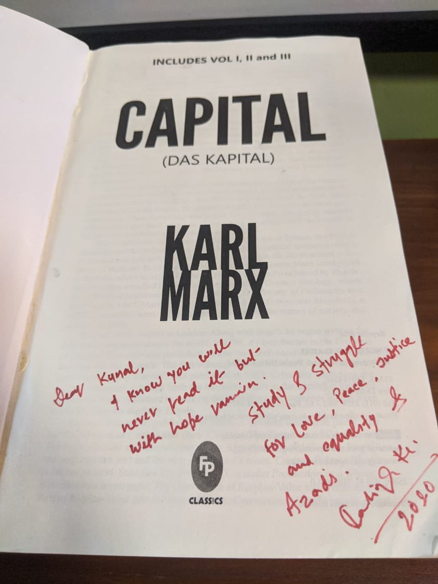 This is something that I would never finish to read but will always remain close to my heart @kanhaiyakumar signed this for... if this holds of any value for you bid for this at milaap.org/fundraisers/su… Email details to contact@kunalkamra.in