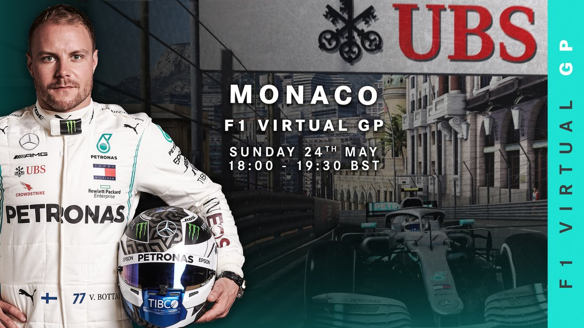 It's official... 😉 @ValtteriBottas will be hitting the streets of Monaco this weekend in the #VirtualGP 👊 https://t.co/jpvaWWHOt7