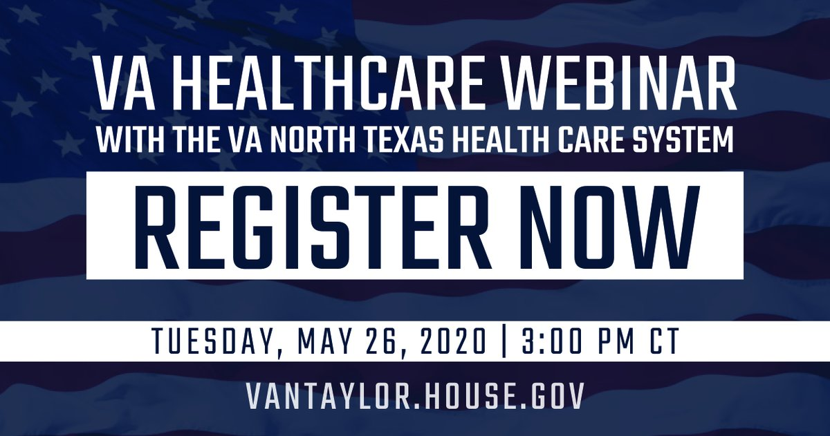 Glad to be teaming up with @VANorthTexas to host a #COVID19 Healthcare Webinar for Collin County Veterans this Tuesday. Veterans, or their families, will be able to participate via telephone or video conference. Visit bit.ly/3e7AnIc or call (972) 202-4150 to RSVP!