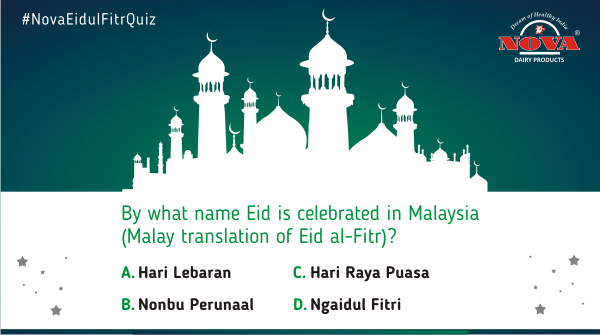 """Question 2  How much do you know about the festival """"Eid Ul Fitr""""? Participate in our quiz contest & find out! Answer all the questions correctly using #NovaEidulFitrQuiz & stand a chance to win a gift hamper from #NovaDairy. Participate, share & tag.  #ContestAlert #Contest https://t.co/U6S0or8NAm"""
