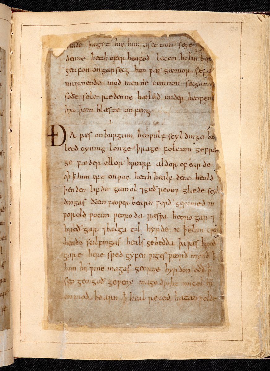 The whole Beowulf manuscript (Cotton MS Vitellius A XV) can be viewed on the British Library's Digitised Manuscripts site, starting on f. 132r.  Can you see where the scribe changes?