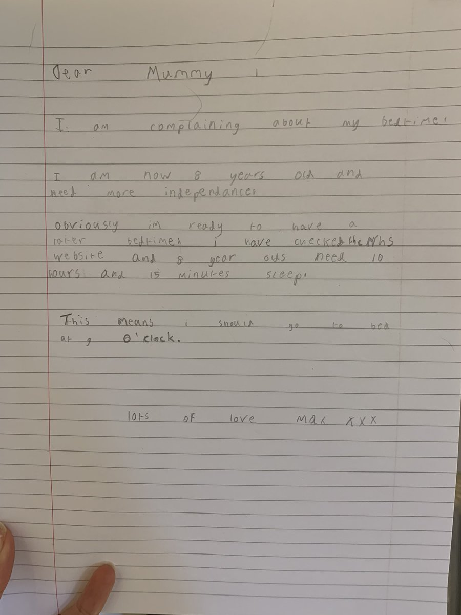 I just received a letter of complaint from my 8 year old son 🤣