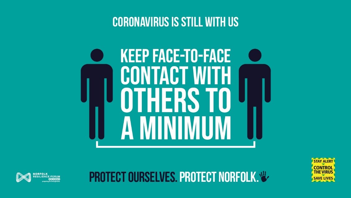 Please remember to keep 2m apart from others (even when meeting a friend outdoors) and avoid busy areas if you can. Well done, Norwich. You are helping to #ProtectNorfolk
