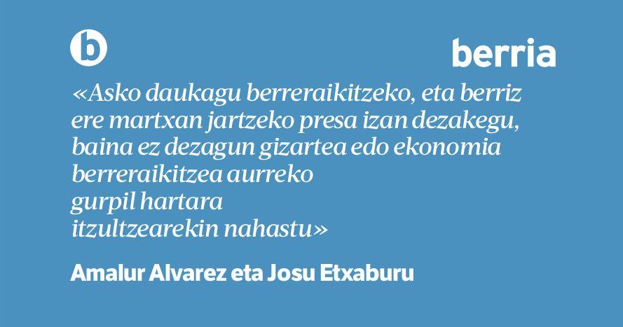 ✍️ 'Berreraikuntza bai, baina herritarron eskutik', Amalur Alvarez eta Josu Etxaburu @Gure_Esku-ren bozeramaileen iritzi artikulua https://t.co/KD4fv2E9uS https://t.co/btUQVIIsKc