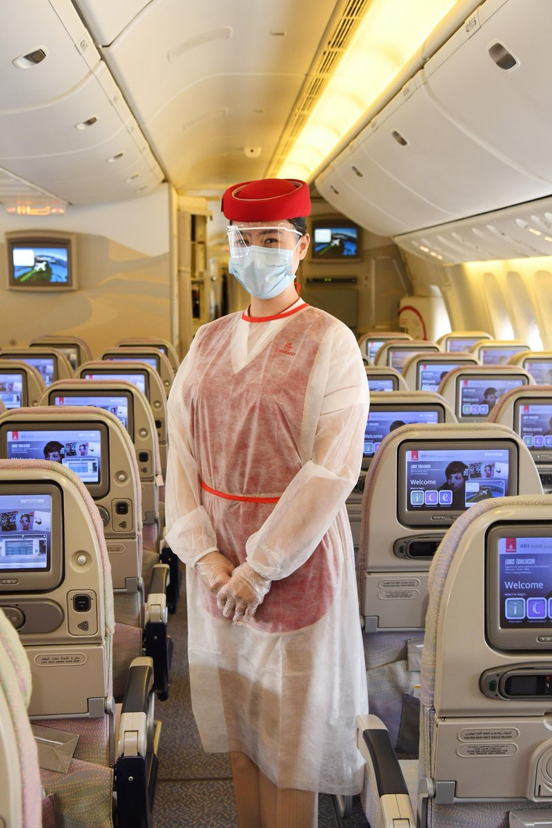 #Emirates has resumed regular flights from #Dubai . Some of the safety measures put in place could become the new normal.  ✅Cabin crew members in PPEs ✅Protective barriers at check-in counters ✅Gloves & masks are compulsory ✅Cabin luggage not allowed  ✅No magazines on-board https://t.co/X49UF4qFTI