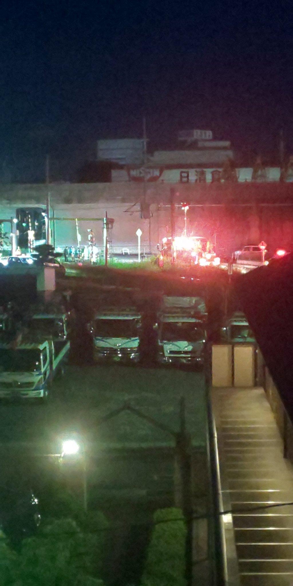 草津線の手原駅付近の人身事故現場の画像