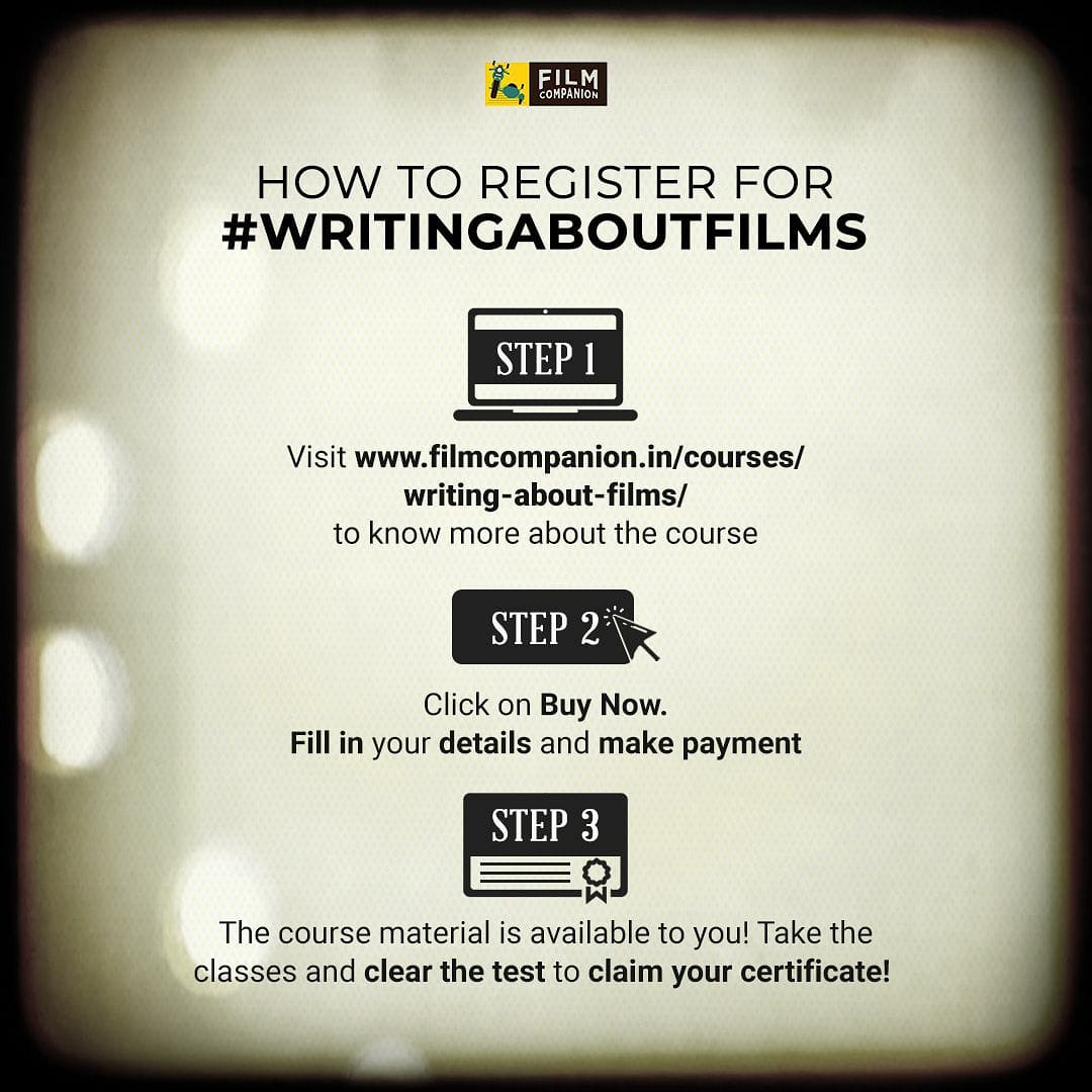 Do you know what Film Criticism entails? Sign up for @FilmCompanion's e-learning course #ClassInSession - with the first module #WritingAboutFilms taught by @anupamachopra ,@baradwajrangan, @Su4ita and @ReelReptile Register now to get started: https://t.co/tkZfD1cXOh https://t.co/9wRD7p1Pg0