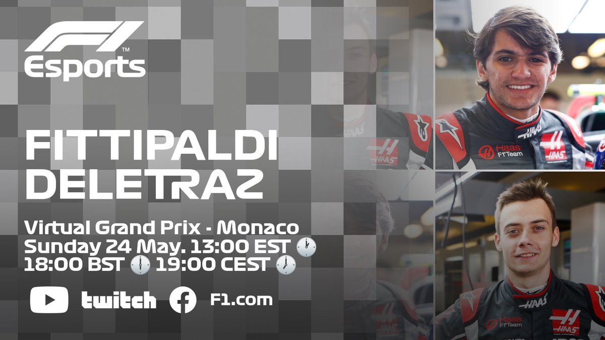 Going all out for #F1Esport glory this weekend! #VirtualGP MONACO!  🏎🇧🇷 @PiFitti 💪 🏎🇨🇭@LouisDeletraz 👊  📺💻 @f1 YouTube / Facebook   #HaasF1 #F1 https://t.co/SWaoeoHFum