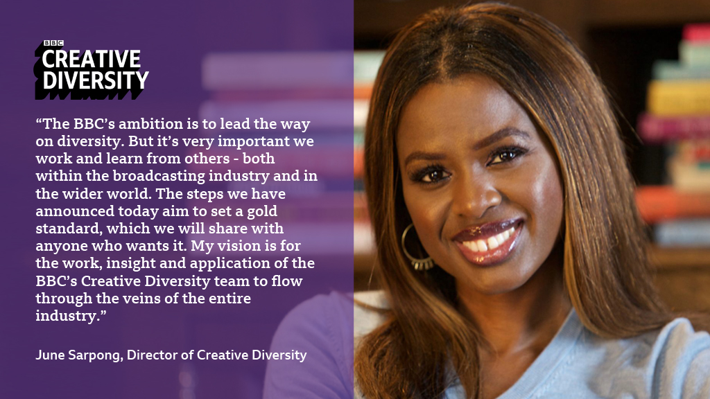 The BBC's Director of Creative Diversity @JuneSarpong has committed to hardwire diversity and inclusion throughout the BBC - within its creative decision making, production values and content: bbc.in/2ZvwGaS