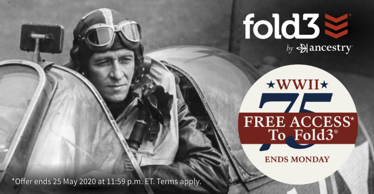 Enjoy FREE ACCESS* to over 550 million military records this Memorial Day weekend! Celebrate the veterans in your family during this 75th anniversary of the end of WWII through military record research. . *Free access ends May 25th.